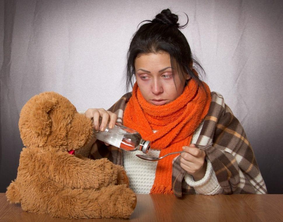 Źena nemocná chřikou. Léčení vodním vysavačem Hyla a medvěděm